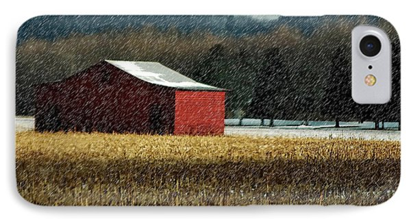 Snowy Red Barn In Winter IPhone Case