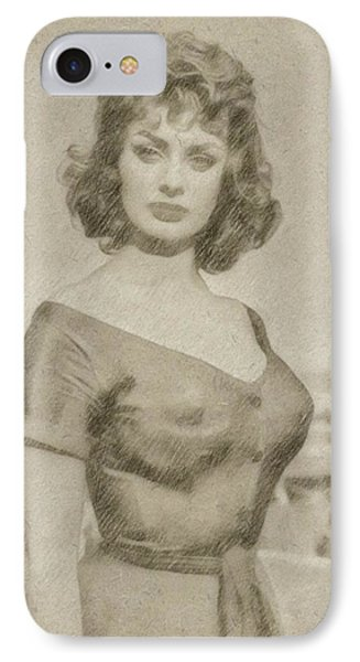 Sophia Loren Hollywood Actress IPhone Case by Frank Falcon