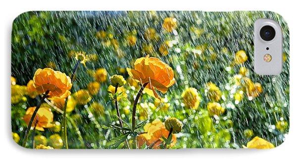 Spring Flowers In The Rain IPhone Case by Tamara Sushko