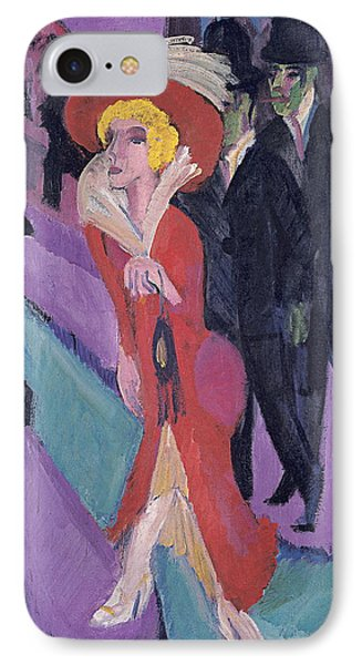 Street With Red Streetwalker IPhone Case by Ernst Ludwig Kirchner