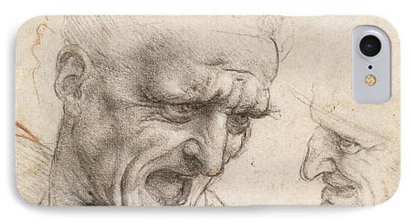 Study Of Two Warriors' Heads For The Battle Of Anghiari IPhone Case