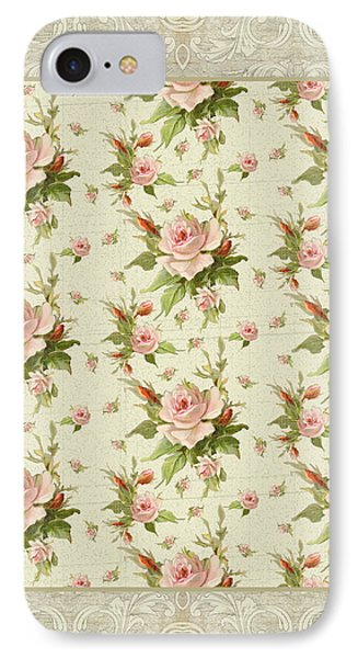 Summer At Cape May - Aged Modern Roses Pattern IPhone Case by Audrey Jeanne Roberts