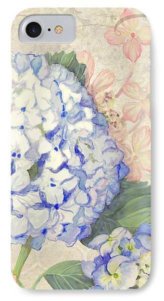 Summer Memories - Blue Hydrangea N Butterflies IPhone Case by Audrey Jeanne Roberts