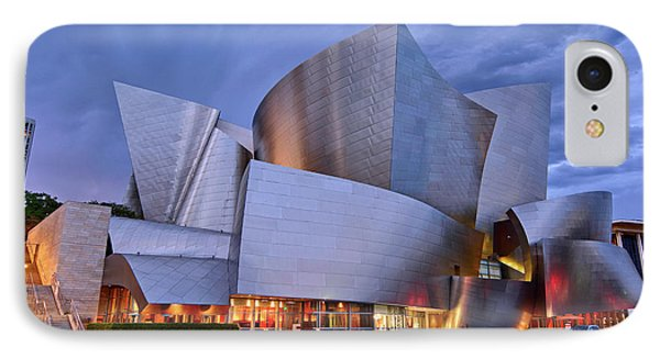 Architecture iPhone 7 Case - Sunset At The Walt Disney Concert Hall In Downtown Los Angeles. by Jamie Pham