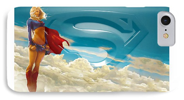 Supergirl Art IPhone Case by Marvin Blaine
