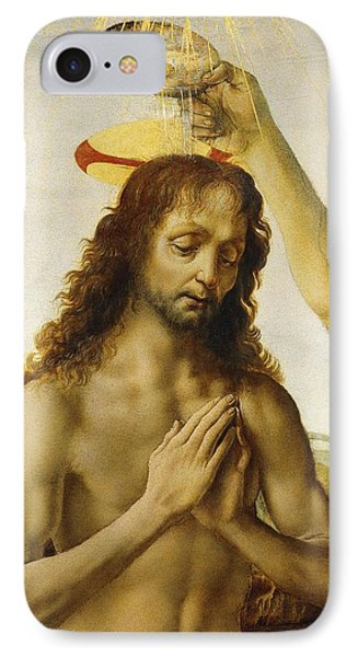 The Baptism Of Christ IPhone Case by Leonardo Da Vinci
