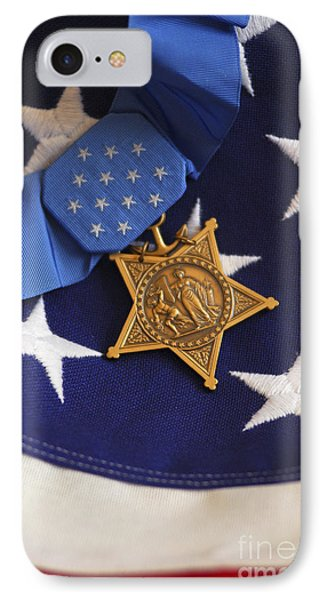 The Medal Of Honor Rests On A Flag Phone Case by Stocktrek Images