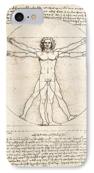 Cross iPhone 7 Case - The Proportions Of The Human Figure by Leonardo Da Vinci