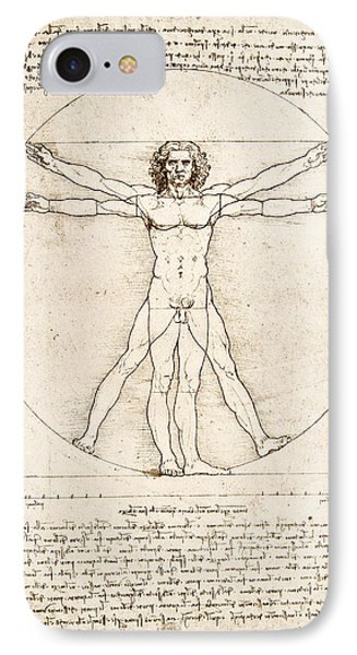 The Proportions Of The Human Figure IPhone 7 Case by Leonardo Da Vinci