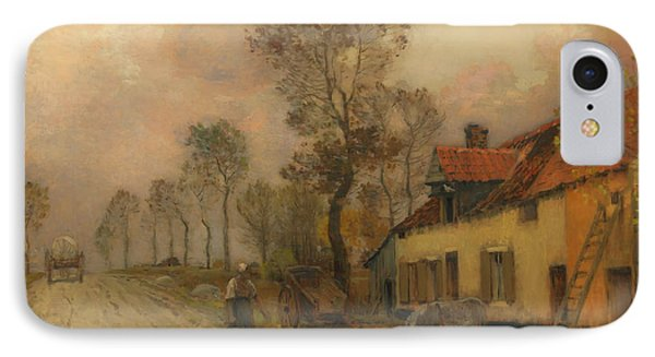IPhone Case featuring the painting The Route Nationale At Samer by Jean-Charles Cazin