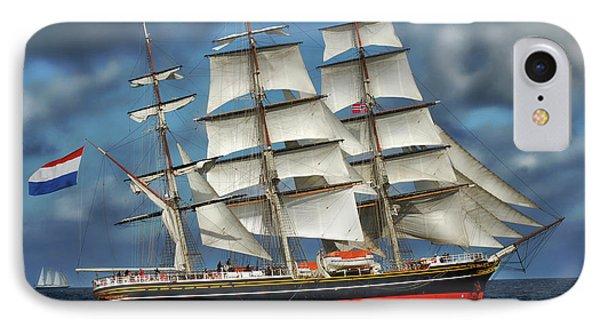 Three Mast Schooner IPhone Case by Anthony Dezenzio