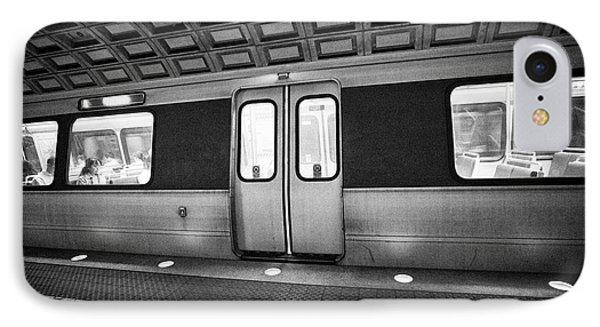 train at platform at smithsonian metro underground train system Washington DC USA IPhone Case