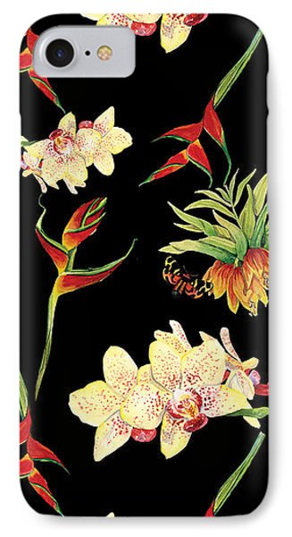 Tropical Island Floral Half Drop Pattern IPhone Case by Audrey Jeanne Roberts