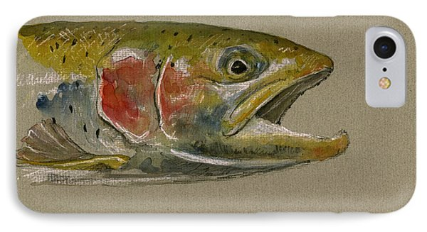 Trout Watercolor Painting IPhone Case by Juan  Bosco