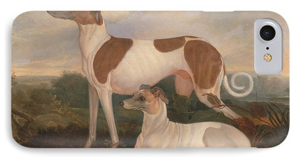 Two Greyhounds In A Landscape IPhone Case by Charles Hancock