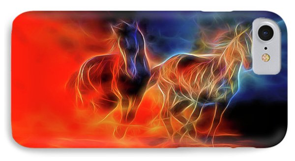 Two Horses IPhone Case by Lilia D