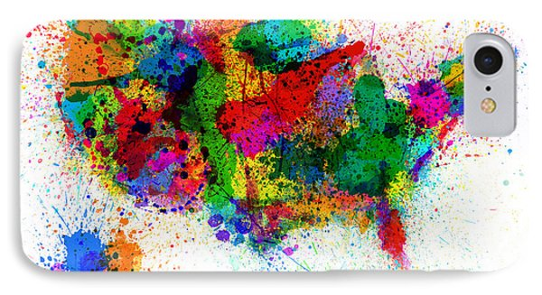 United States Paint Splashes Map IPhone Case