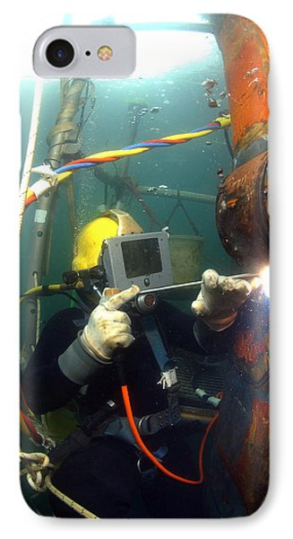 U.s. Navy Diver Welds A Repair Patch Phone Case by Stocktrek Images