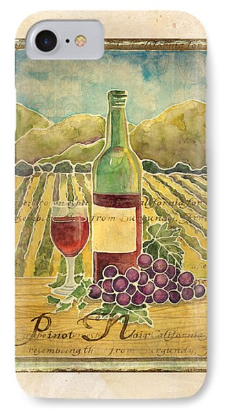 Vineyard Pinot Noir Grapes N Wine - Batik Style IPhone 7 Case by Audrey Jeanne Roberts