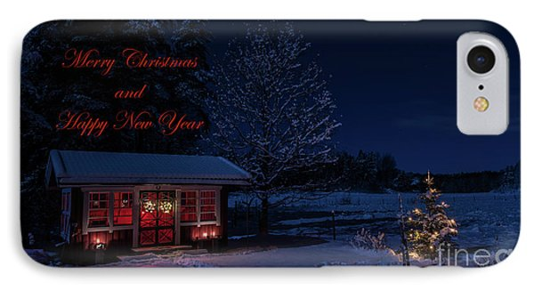 IPhone Case featuring the photograph Winter Night Greetings In English by Torbjorn Swenelius