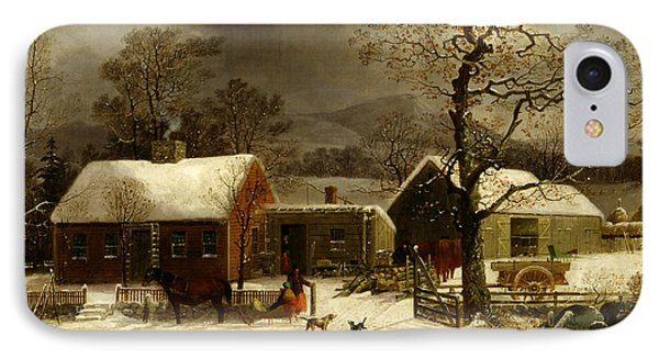 Winter Scene In New Haven, Connecticut IPhone Case by George Henry Durrie