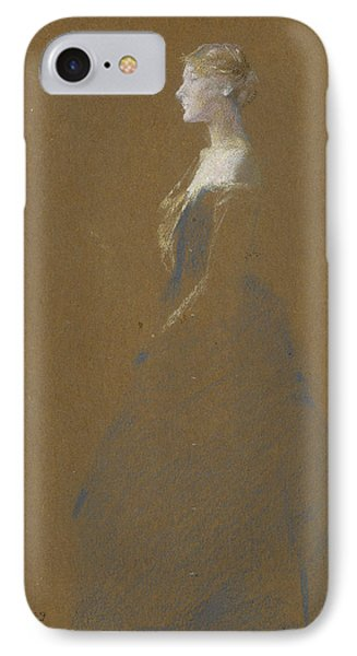 Woman In A Blue Dress IPhone Case by Thomas Wilmer Dewing