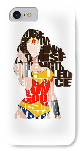 Wonder Woman Inspirational Power And Strength Through Words IPhone 7 Case by Marvin Blaine