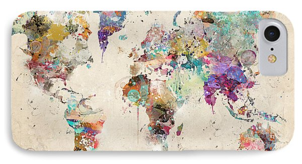 World Map Watercolor IPhone Case by Bri B