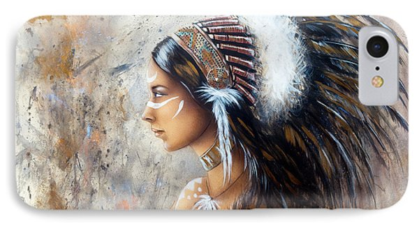Young Indian Woman Wearing A Big Feather Headdress A Profile Portrait On Structured Abstract Backgr IPhone Case
