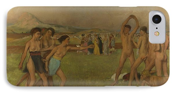 Young Spartans Exercising IPhone Case by Edgar Degas