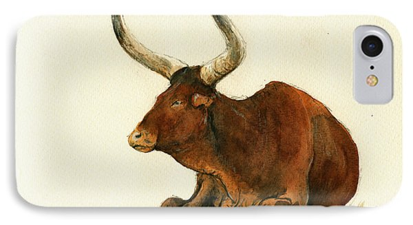 Zebu Cattle Art Painting IPhone Case by Juan  Bosco