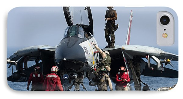 An F-14d Tomcat On The Flight Deck Phone Case by Gert Kromhout