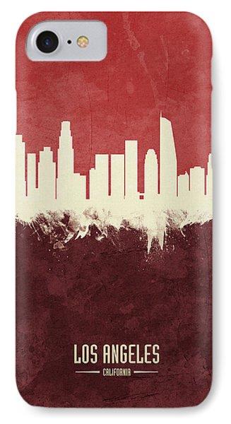 Los Angeles Skyline iPhone 7 Case - Los Angeles California Skyline by Michael Tompsett