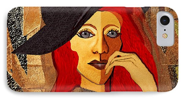 200 - Woman With Black Hat .... IPhone Case by Irmgard Schoendorf Welch