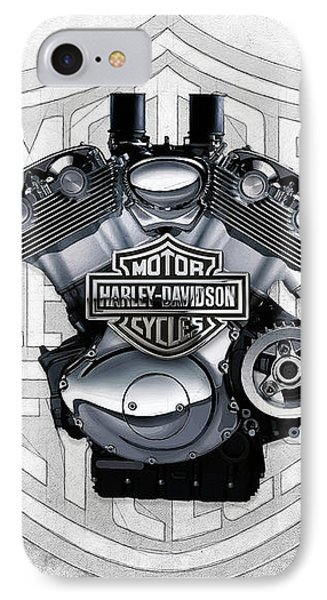 IPhone Case featuring the digital art 2002 Harley-davidson Revolution Engine With 3d Badge  by Serge Averbukh