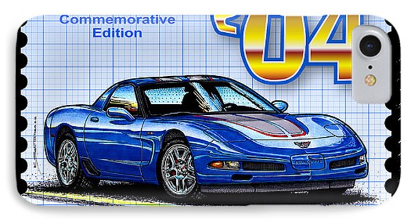 IPhone Case featuring the drawing 2004 Commemorative Edition Corvette by K Scott Teeters