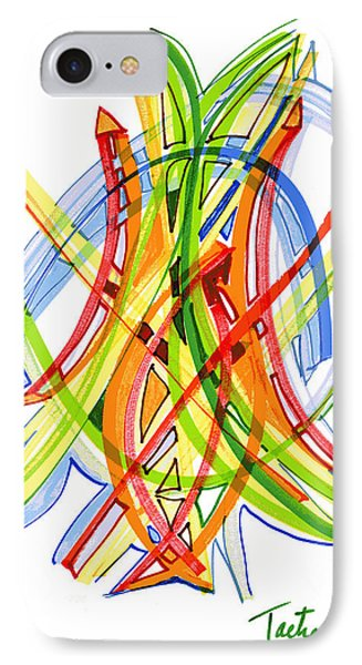 2010 Abstract Drawing Seven IPhone Case by Lynne Taetzsch
