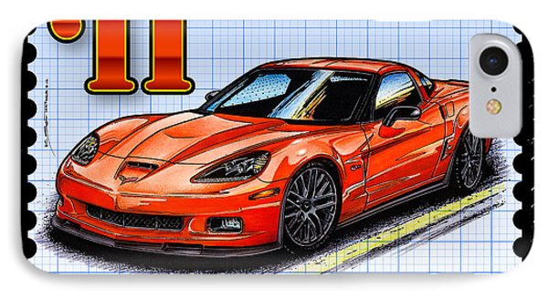 IPhone Case featuring the drawing 2011 Z06 Carbon Edition Corvette by K Scott Teeters
