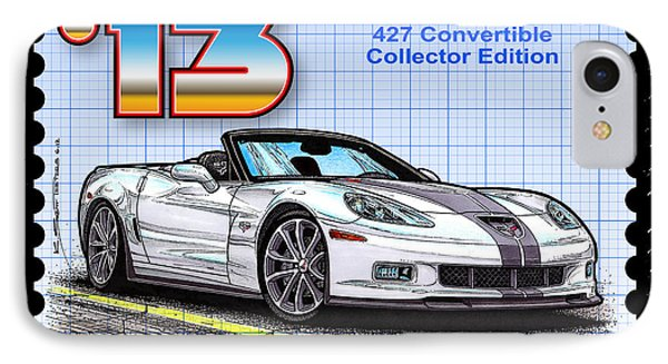 IPhone Case featuring the drawing 2013 60th Anniversary 427 Convertible Corvette by K Scott Teeters