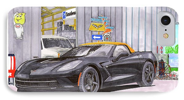 IPhone Case featuring the painting 2014 Corvette And Man Cave Garage by Jack Pumphrey