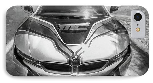 IPhone Case featuring the photograph 2015 Bmw I8 Hybrid Sports Car Bw by Rich Franco