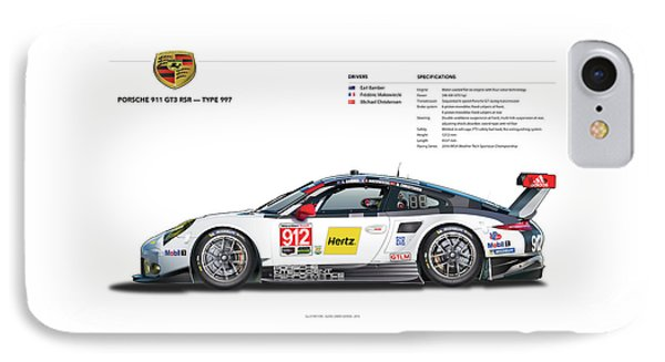 2016 911gt3r Rsr Poster IPhone Case by Alain Jamar