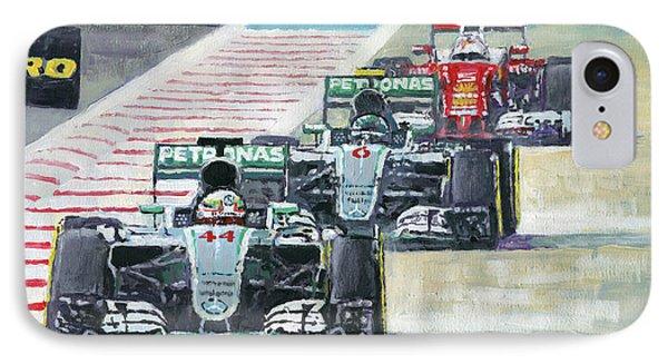 2016 Abu Dhabi Gp Mercedes Hamiltom Rosberg Ferrari Vettel IPhone Case by Yuriy Shevchuk