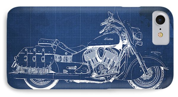 2016 Indian Chief Vintage Motorcycle Blueprint, Blue Background IPhone Case by Pablo Franchi