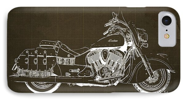 2016 Indian Chief Vintage Motorcycle Blueprint, Brown Background IPhone Case by Pablo Franchi