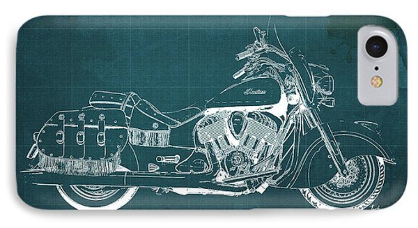 2016 Indian Chief Vintage Motorcycle Blueprint, Green Background. Gift For Men IPhone Case by Pablo Franchi