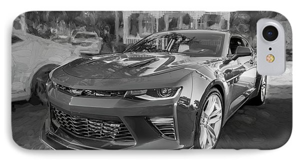 IPhone Case featuring the photograph 2017 Chevrolet Camaro Ss2 Bw by Rich Franco