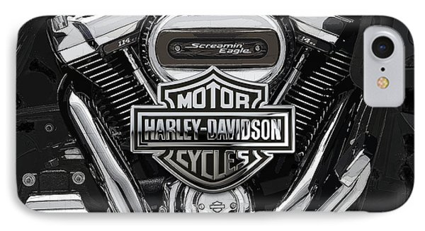 IPhone Case featuring the digital art 2017 Harley-davidson Screamin' Eagle Milwaukee-eight 114 Engine With 3d Badge by Serge Averbukh