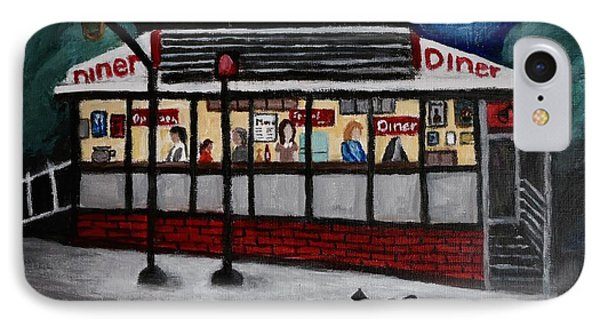 IPhone Case featuring the painting 24 Hour Diner by Victoria Lakes