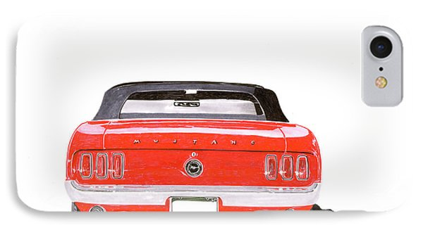IPhone Case featuring the painting 1969 Mustang Convertible by Jack Pumphrey